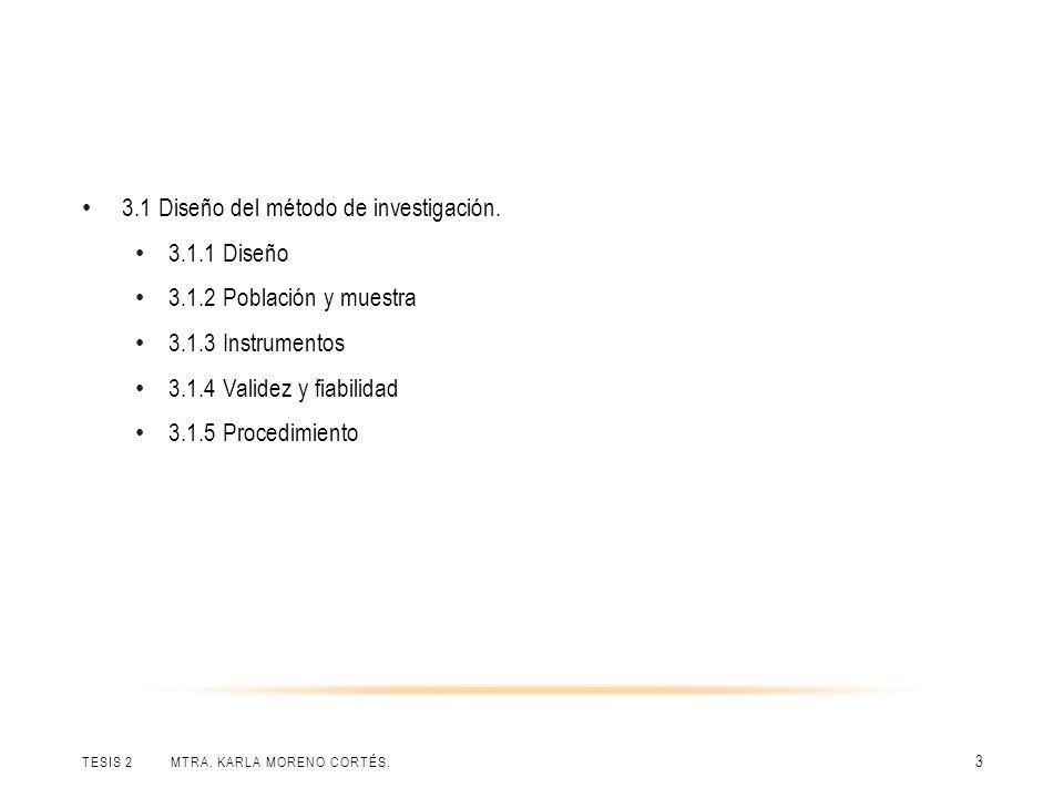TESIS 2 MTRA. KARLA MORENO CORTÉS. 3 3.1 Diseño del método de investigación. 3.1.1 Diseño 3.1.2 Población y muestra 3.1.3 Instrumentos 3.1.4 Validez y