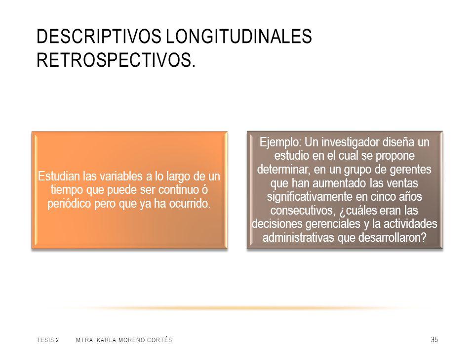 DESCRIPTIVOS LONGITUDINALES RETROSPECTIVOS.TESIS 2 MTRA.