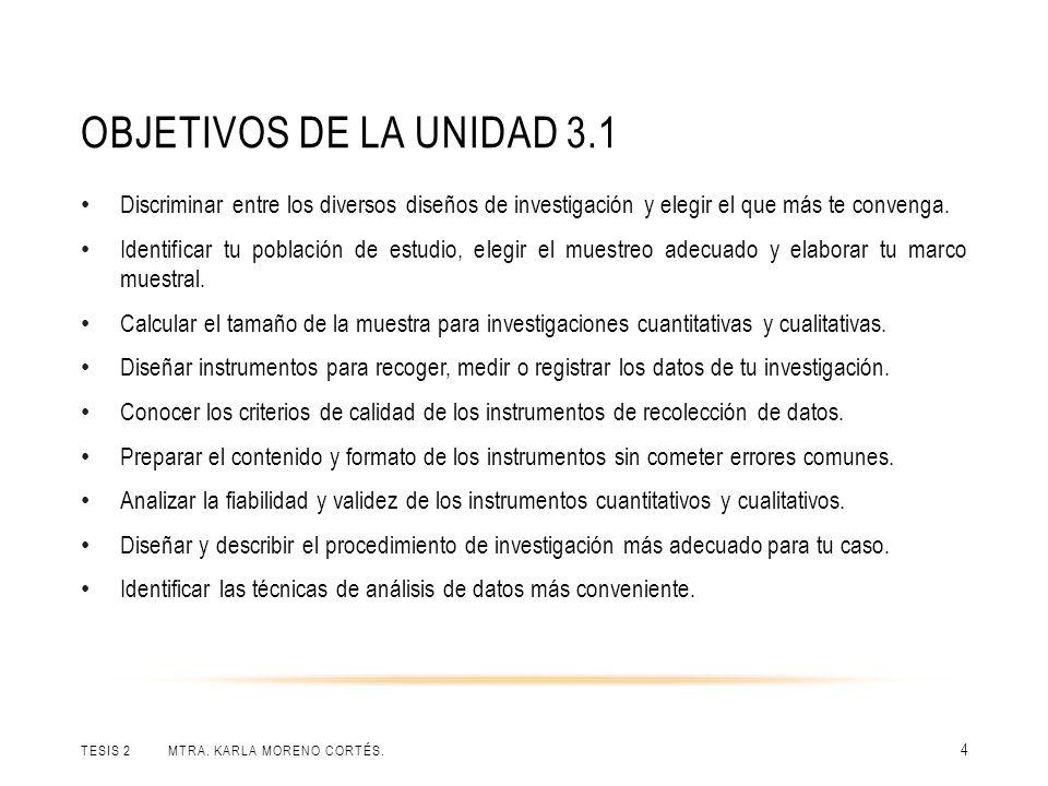 OBJETIVOS DE LA UNIDAD 3.1 TESIS 2 MTRA. KARLA MORENO CORTÉS. 4 Discriminar entre los diversos diseños de investigación y elegir el que más te conveng