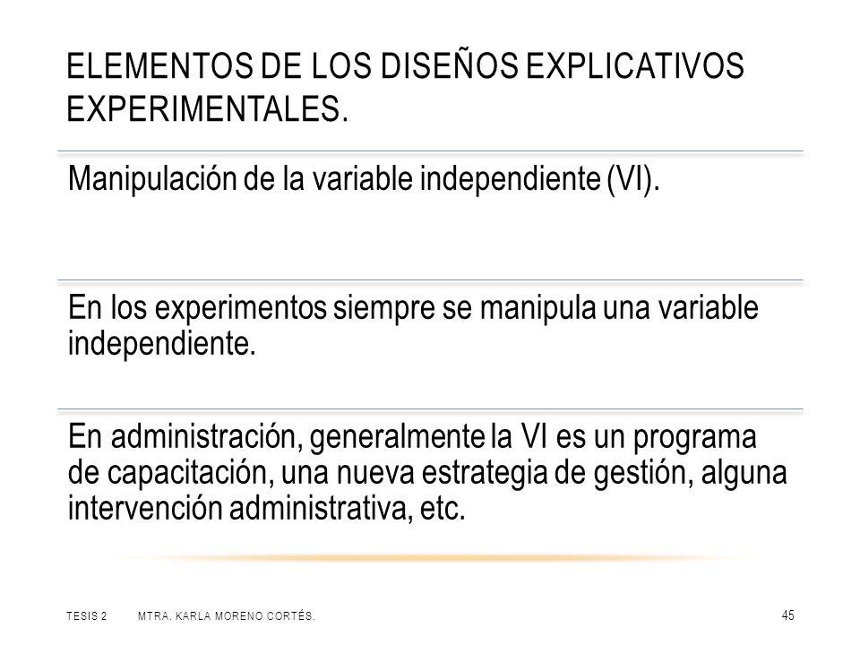 ELEMENTOS DE LOS DISEÑOS EXPLICATIVOS EXPERIMENTALES. TESIS 2 MTRA. KARLA MORENO CORTÉS. 45 Manipulación de la variable independiente (VI). En los exp