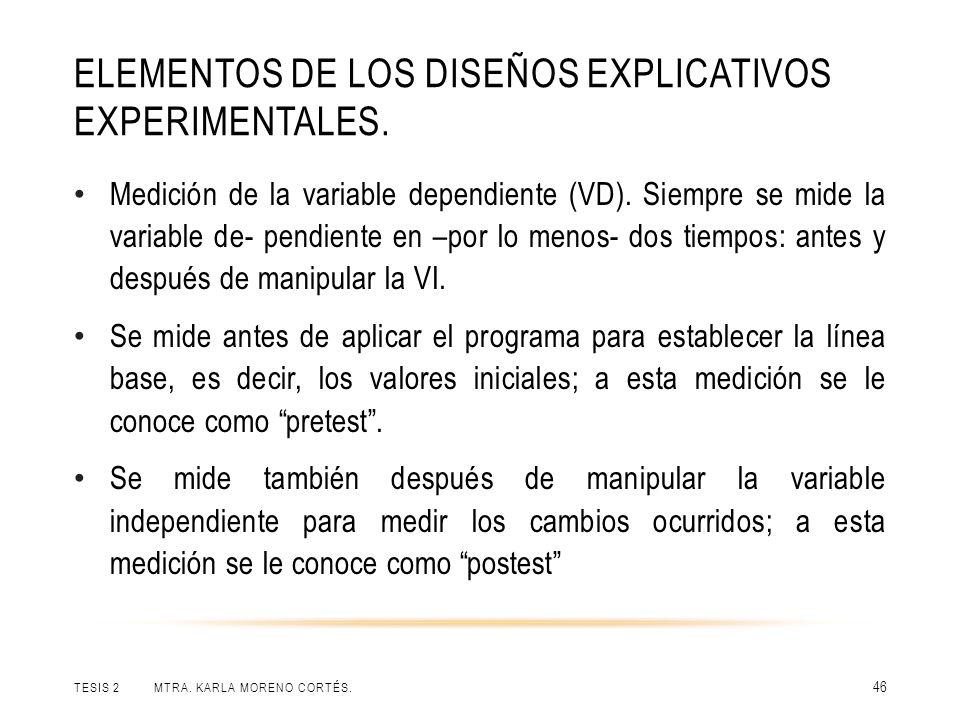 ELEMENTOS DE LOS DISEÑOS EXPLICATIVOS EXPERIMENTALES. TESIS 2 MTRA. KARLA MORENO CORTÉS. 46 Medición de la variable dependiente (VD). Siempre se mide