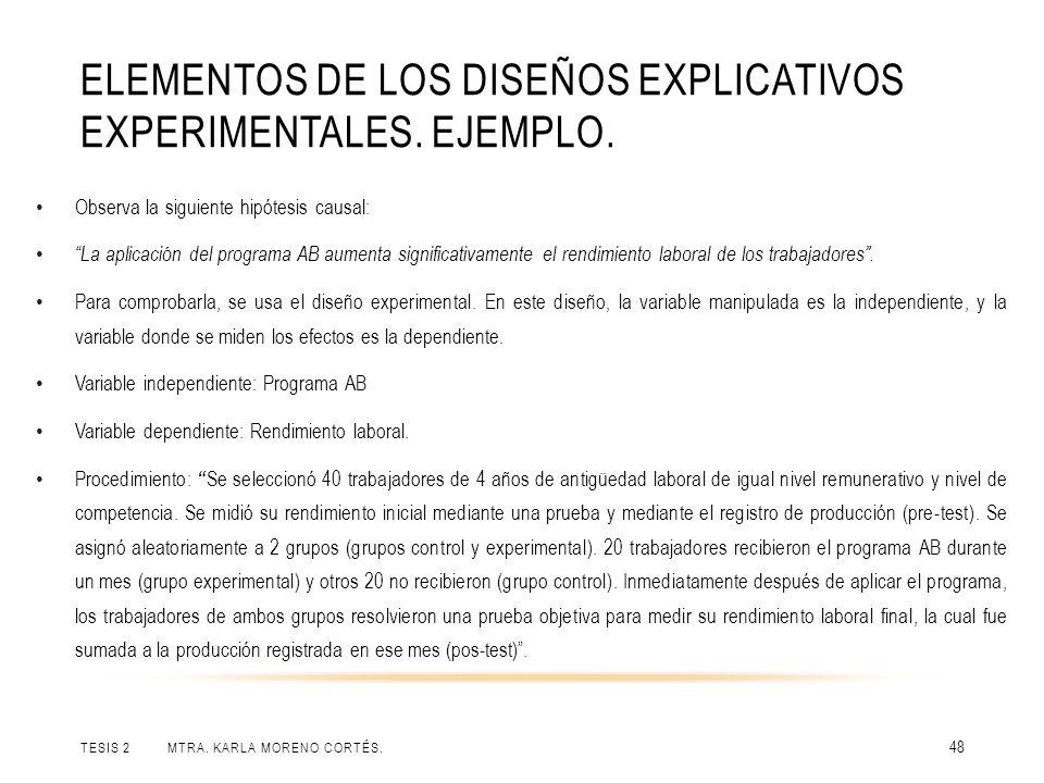 ELEMENTOS DE LOS DISEÑOS EXPLICATIVOS EXPERIMENTALES. EJEMPLO. TESIS 2 MTRA. KARLA MORENO CORTÉS. 48 Observa la siguiente hipótesis causal: La aplicac