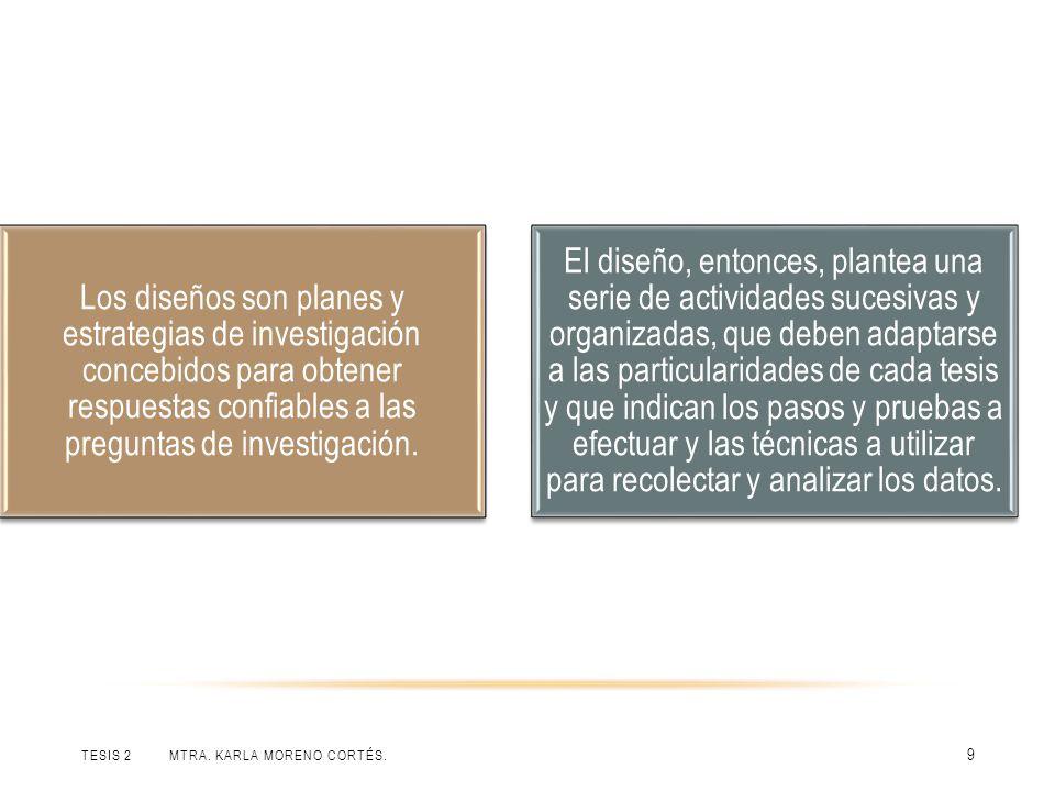 TESIS 2 MTRA. KARLA MORENO CORTÉS. 9 Los diseños son planes y estrategias de investigación concebidos para obtener respuestas confiables a las pregunt