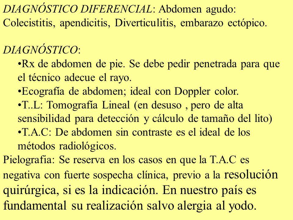 DIAGNÓSTICO DIFERENCIAL: Abdomen agudo: Colecistitis, apendicitis, Diverticulitis, embarazo ectópico. DIAGNÓSTICO: Rx de abdomen de pie. Se debe pedir