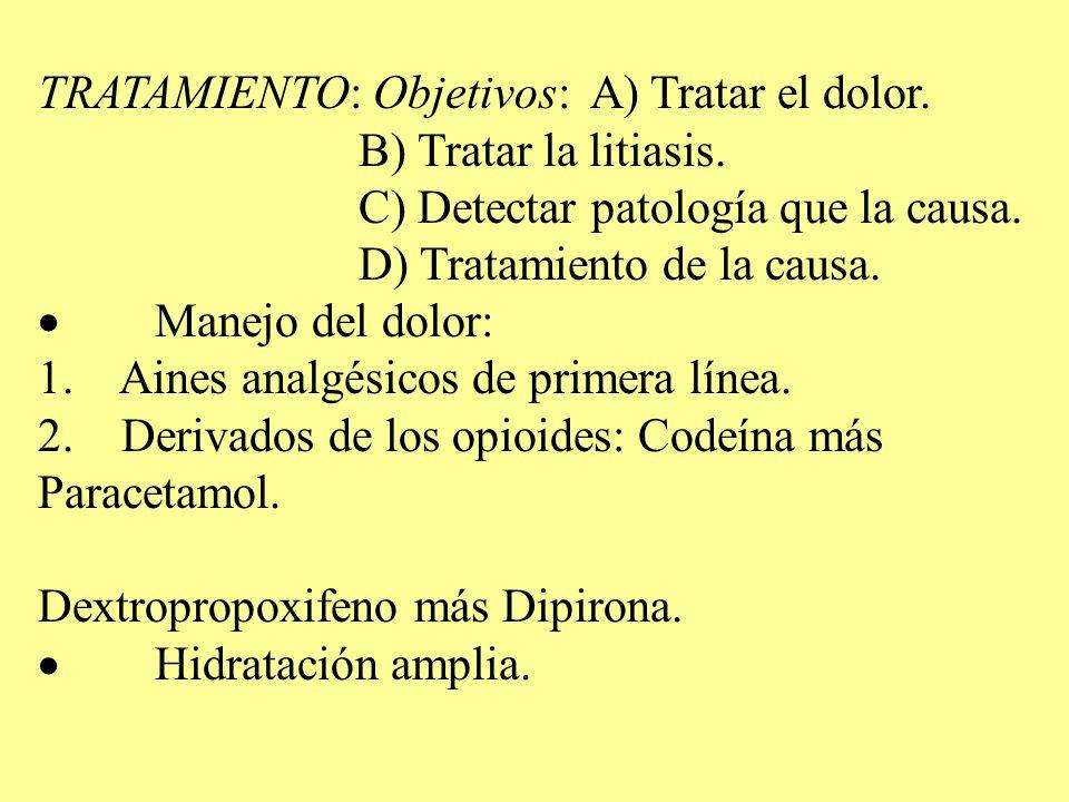 TRATAMIENTO: Objetivos: A) Tratar el dolor. B) Tratar la litiasis. C) Detectar patología que la causa. D) Tratamiento de la causa. Manejo del dolor: 1