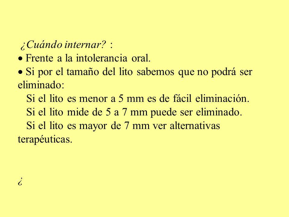 ¿Cuándo internar.: Frente a la intolerancia oral.