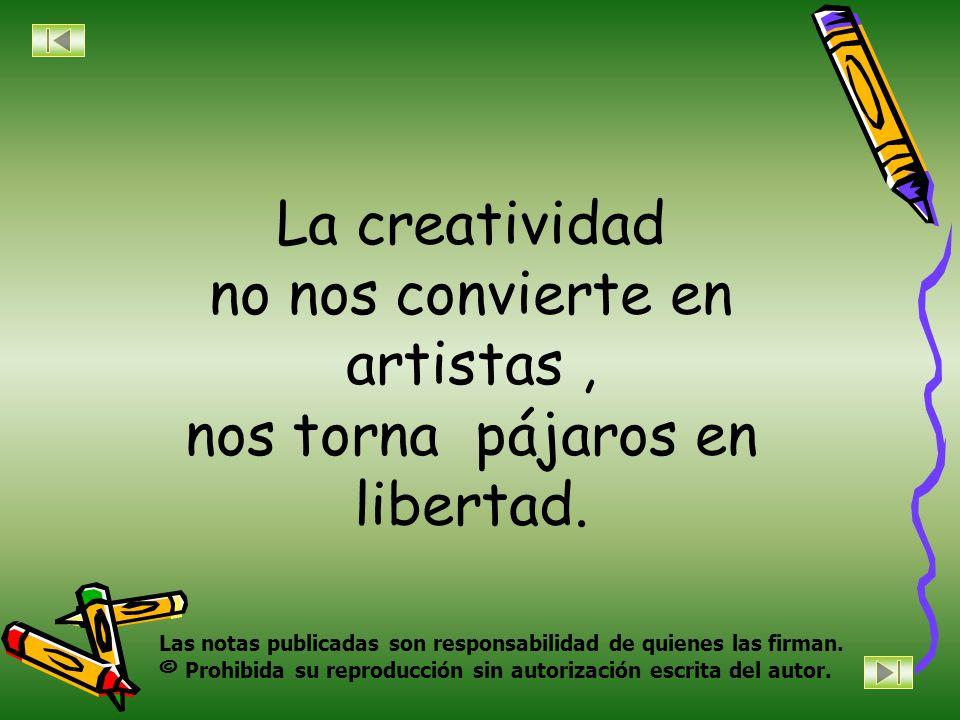 La creatividad no nos convierte en artistas, nos torna pájaros en libertad.