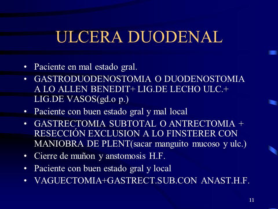 11 ULCERA DUODENAL Paciente en mal estado gral. GASTRODUODENOSTOMIA O DUODENOSTOMIA A LO ALLEN BENEDIT+ LIG.DE LECHO ULC.+ LIG.DE VASOS(gd.o p.) Pacie