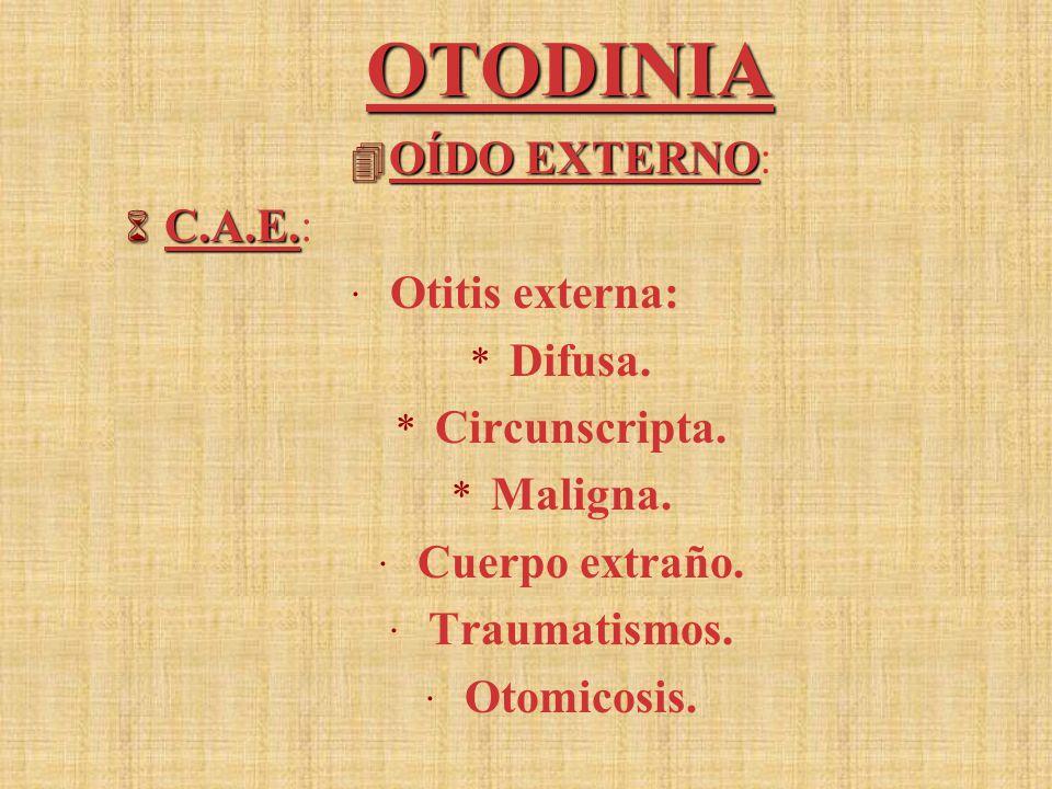 OTODINIA 4 OÍDO EXTERNO 4 OÍDO EXTERNO: 6 C.A.E.6 C.A.E.: · Otitis externa: * Difusa.