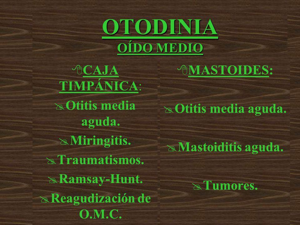 OTODINIA OÍDO MEDIO 8 CAJA TIMPÁNICA: @ Otitis media aguda.