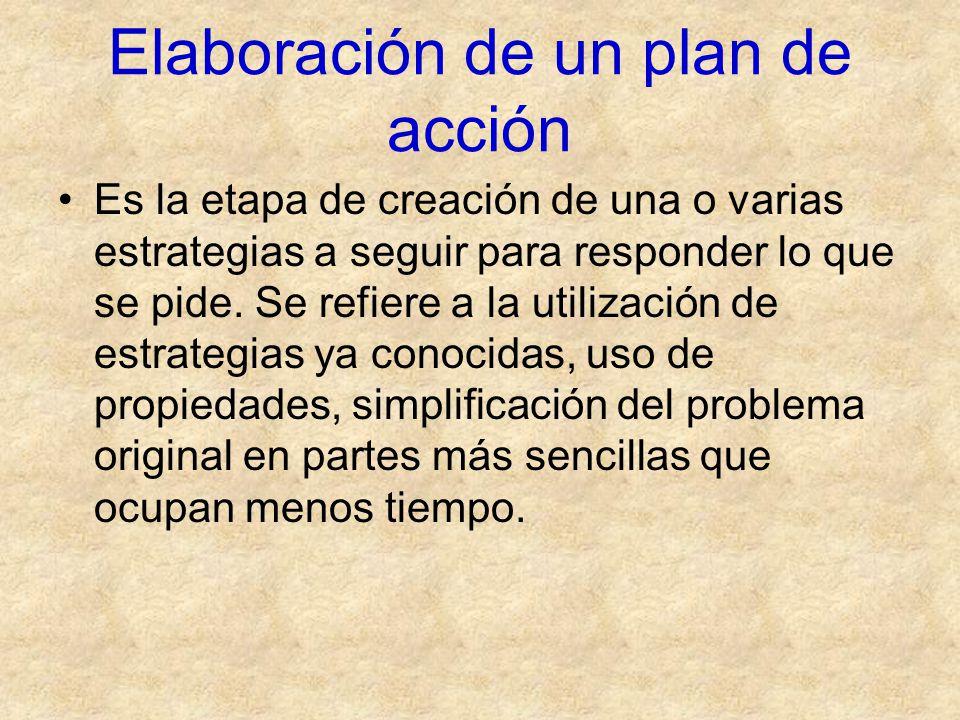Elaboración de un plan de acción Es la etapa de creación de una o varias estrategias a seguir para responder lo que se pide. Se refiere a la utilizaci