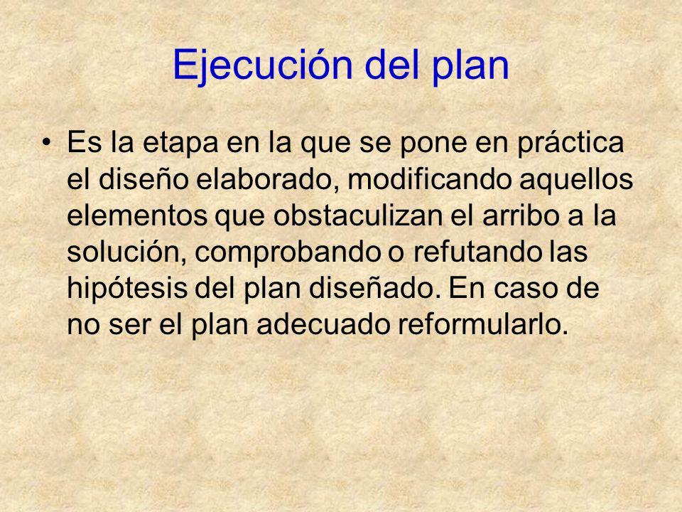 Ejecución del plan Es la etapa en la que se pone en práctica el diseño elaborado, modificando aquellos elementos que obstaculizan el arribo a la soluc