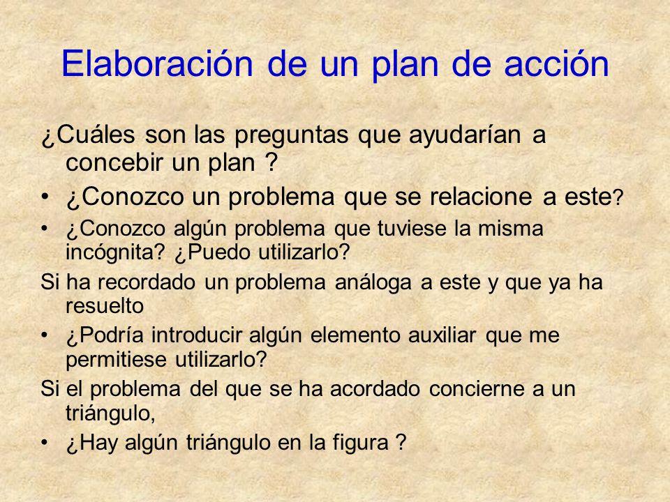 Elaboración de un plan de acción ¿Cuáles son las preguntas que ayudarían a concebir un plan ? ¿Conozco un problema que se relacione a este ? ¿Conozco