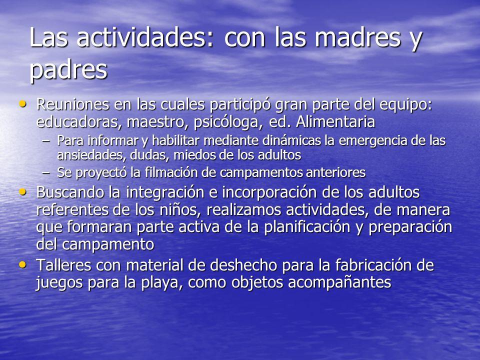 Las actividades: con las madres y padres Reuniones en las cuales participó gran parte del equipo: educadoras, maestro, psicóloga, ed. Alimentaria Reun