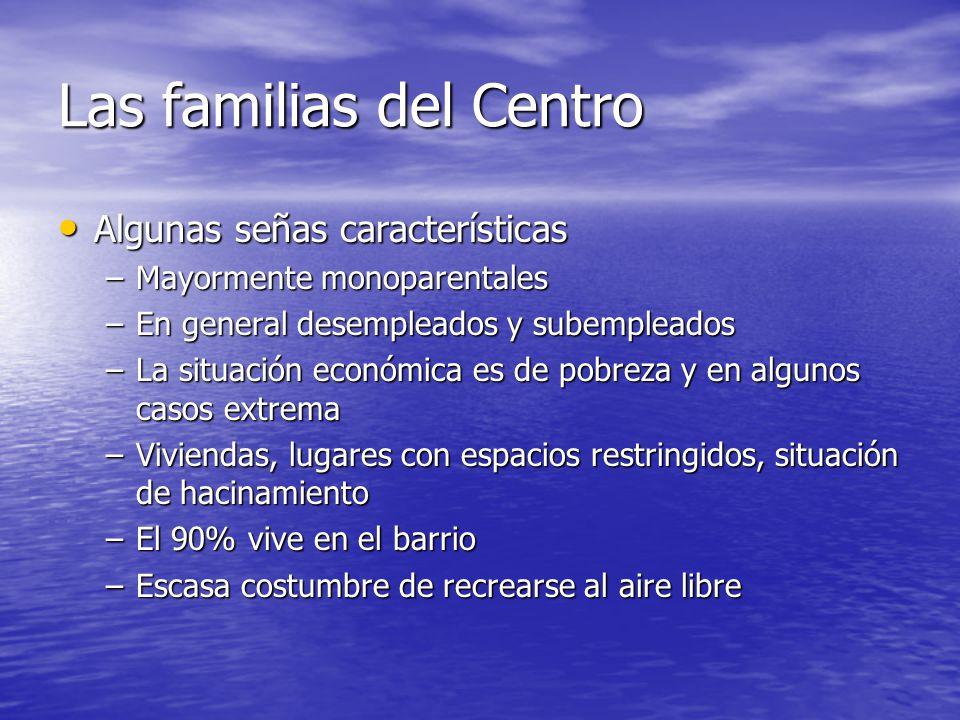 Las familias del Centro Algunas señas características Algunas señas características –Mayormente monoparentales –En general desempleados y subempleados