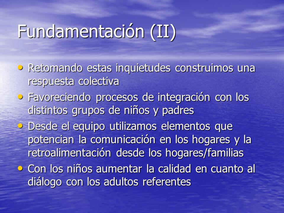 Fundamentación (II) Retomando estas inquietudes construimos una respuesta colectiva Retomando estas inquietudes construimos una respuesta colectiva Fa