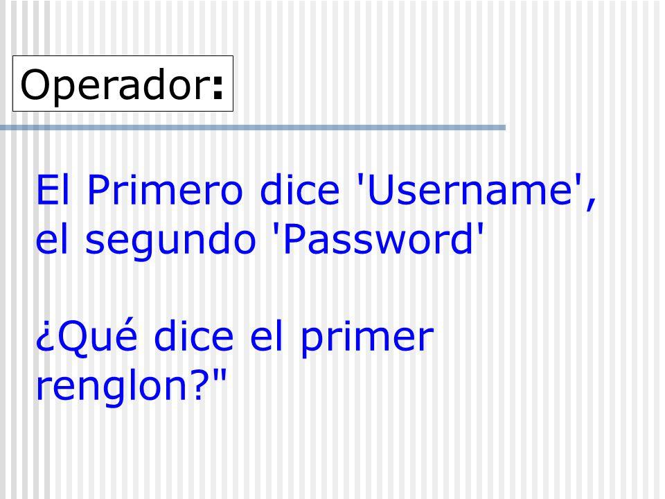 El Primero dice 'Username', el segundo 'Password' ¿Qué dice el primer renglon?