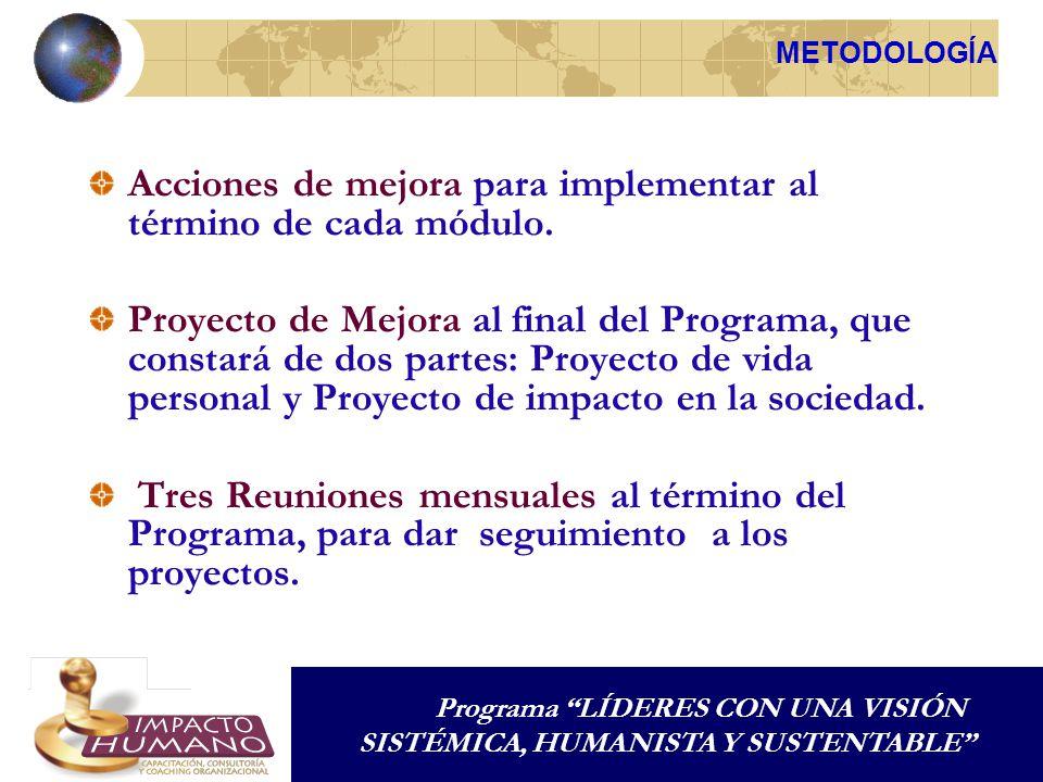 Acciones de mejora para implementar al término de cada módulo. Proyecto de Mejora al final del Programa, que constará de dos partes: Proyecto de vida