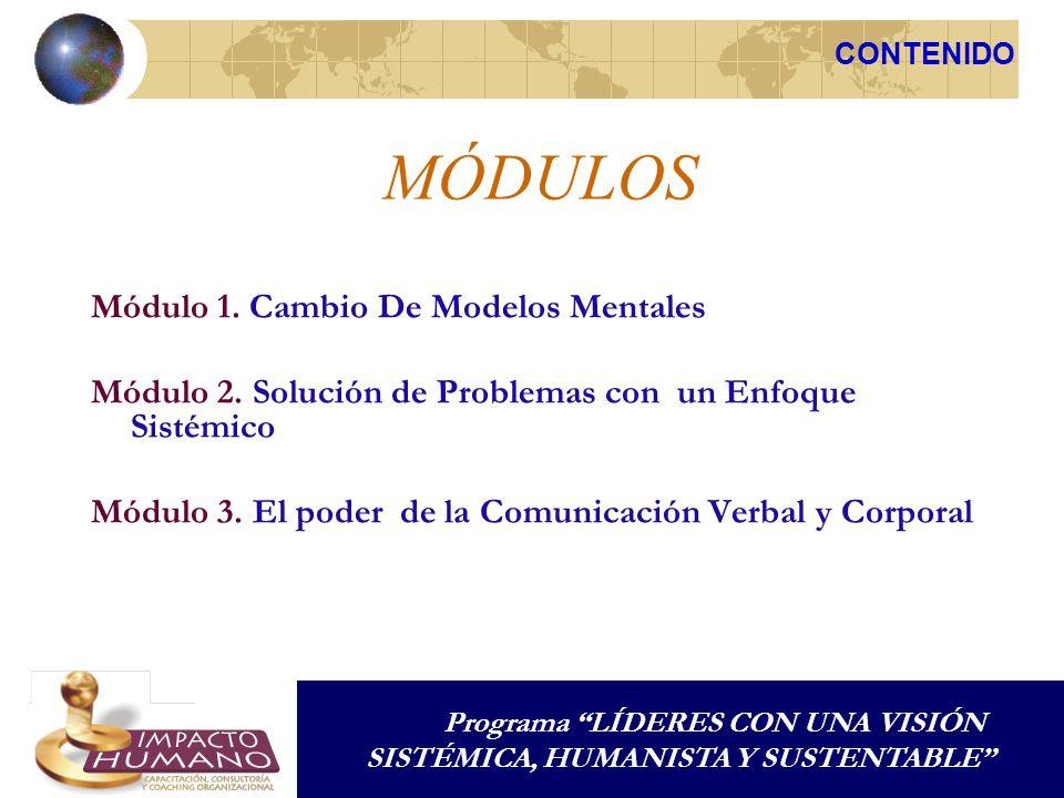 MÓDULOS Módulo 1. Cambio De Modelos Mentales Módulo 2. Solución de Problemas con un Enfoque Sistémico Módulo 3. El poder de la Comunicación Verbal y C