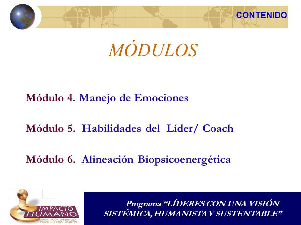 MÓDULOS Módulo 4. Manejo de Emociones Módulo 5. Habilidades del Líder/ Coach Módulo 6. Alineación Biopsicoenergética CONTENIDO Programa LÍDERES CON UN