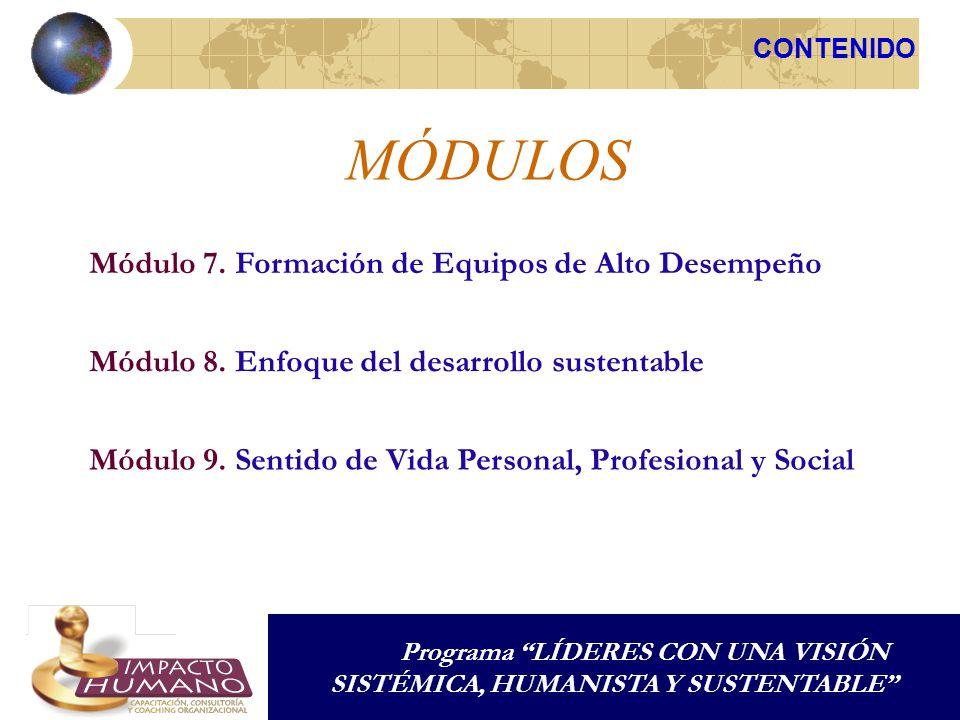 MÓDULOS CONTENIDO Programa LÍDERES CON UNA VISIÓN SISTÉMICA, HUMANISTA Y SUSTENTABLE Módulo 7.