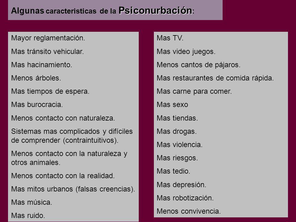 Psiconurbación Algunas caracteristicas de la Psiconurbación : Mayor reglamentación.