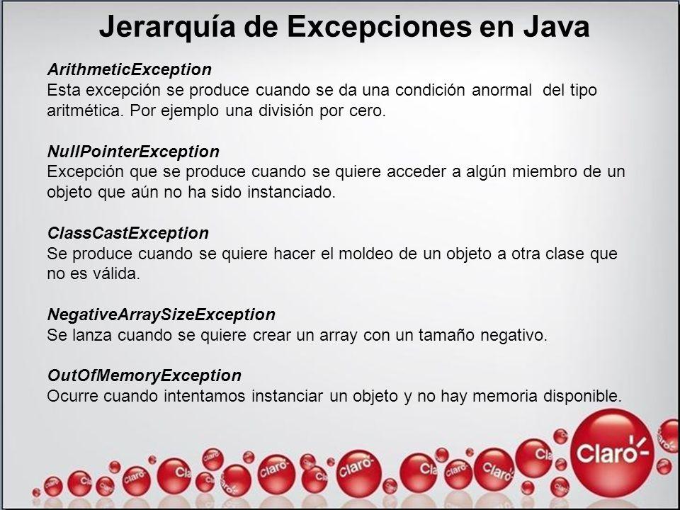 ArithmeticException Esta excepción se produce cuando se da una condición anormal del tipo aritmética. Por ejemplo una división por cero. NullPointerEx