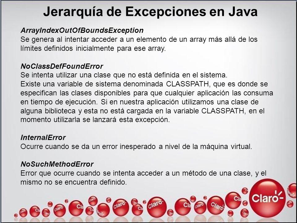 Jerarquía de Excepciones en Java ArrayIndexOutOfBoundsException Se genera al intentar acceder a un elemento de un array más allá de los límites defini