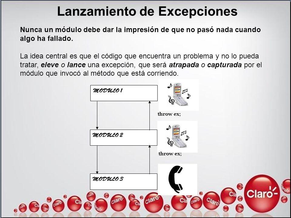 Lanzamiento de Excepciones Nunca un módulo debe dar la impresión de que no pasó nada cuando algo ha fallado. La idea central es que el código que encu