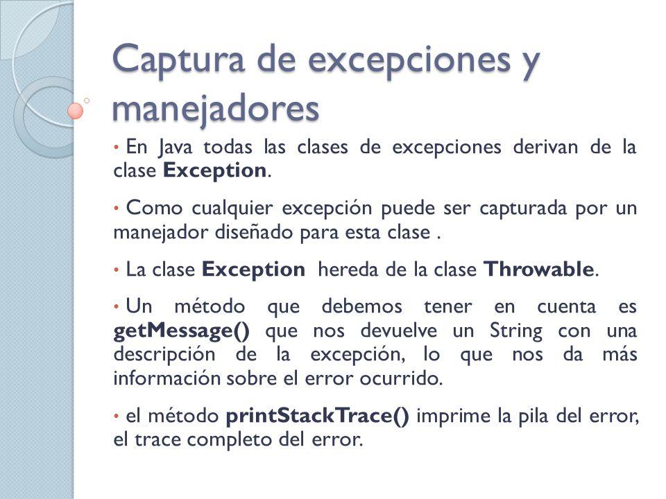 Bloque de Finalización (finally) La porción de código que se encuentra dentro de este bloque, se ejecuta luego de los manejadores y antes de que se lancen excepciones al contexto de nivel superior.