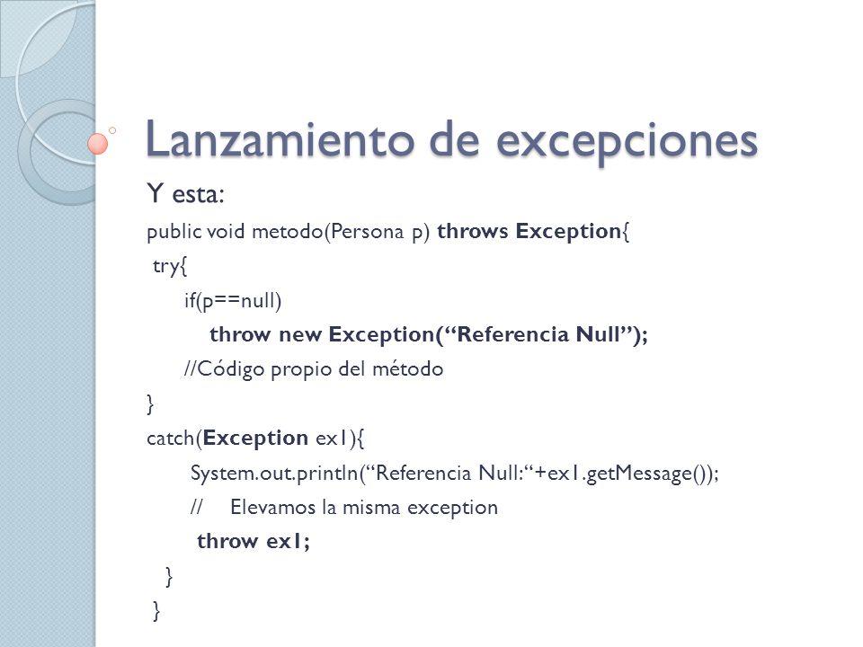 Jerarquía de Excepciones La base de la jerarquía es la clase Throwable, de esta clase extienden las clases Error y Exception.