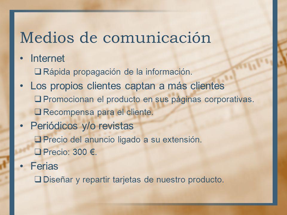 Medios de comunicación Internet Rápida propagación de la información. Los propios clientes captan a más clientes Promocionan el producto en sus página