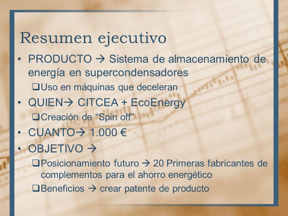 Resumen ejecutivo PRODUCTO Sistema de almacenamiento de energía en supercondensadores Uso en máquinas que deceleran QUIEN CITCEA + EcoEnergy Creación
