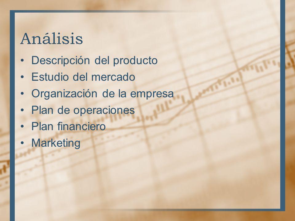 Análisis Descripción del producto Estudio del mercado Organización de la empresa Plan de operaciones Plan financiero Marketing