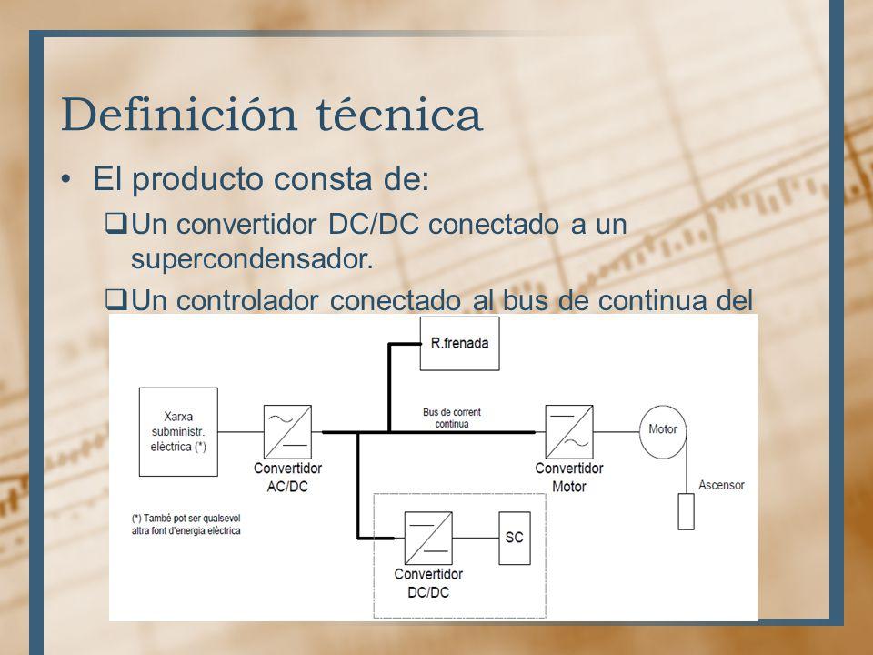 Definición técnica El producto consta de: Un convertidor DC/DC conectado a un supercondensador. Un controlador conectado al bus de continua del ascens