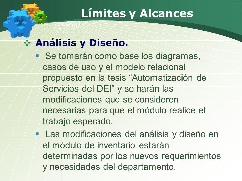 Límites y Alcances Análisis y Diseño. Se tomarán como base los diagramas, casos de uso y el modelo relacional propuesto en la tesis Automatización de