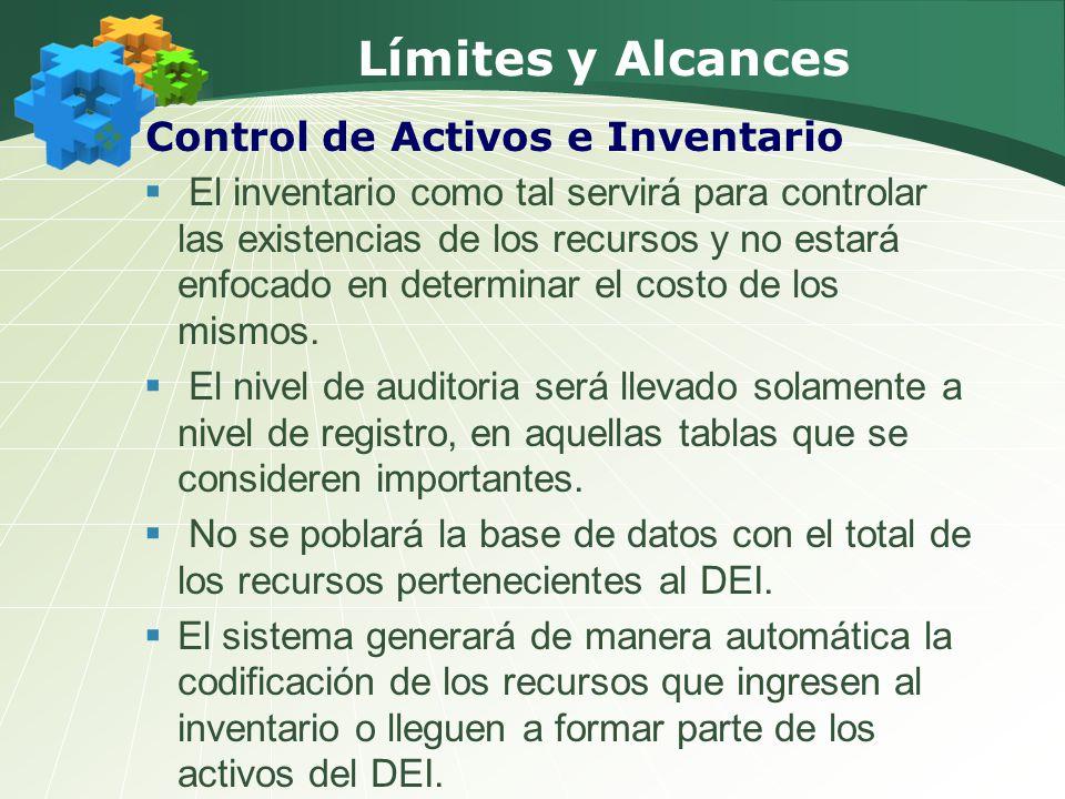Límites y Alcances Control de Activos e Inventario El inventario como tal servirá para controlar las existencias de los recursos y no estará enfocado en determinar el costo de los mismos.