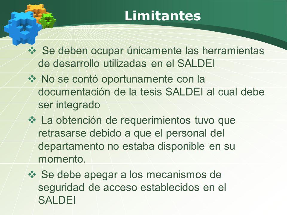 Limitantes Se deben ocupar únicamente las herramientas de desarrollo utilizadas en el SALDEI No se contó oportunamente con la documentación de la tesi
