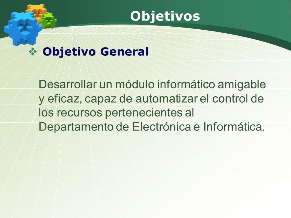 Objetivos Objetivo General Desarrollar un módulo informático amigable y eficaz, capaz de automatizar el control de los recursos pertenecientes al Departamento de Electrónica e Informática.
