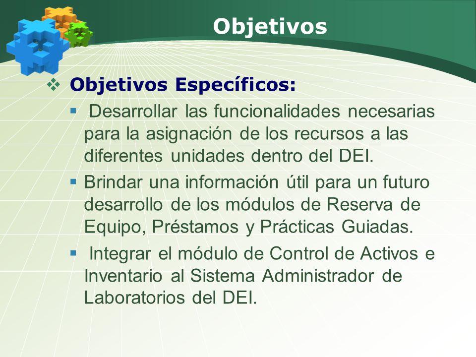 Objetivos Objetivos Específicos: Desarrollar las funcionalidades necesarias para la asignación de los recursos a las diferentes unidades dentro del DEI.