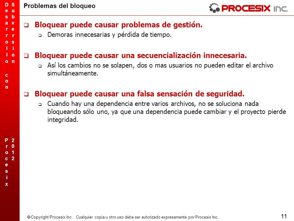 11 Copyright Procesix Inc. Cualquier copia u otro uso debe ser autorizado expresamente por Procesix Inc. Problemas del bloqueo Bloquear puede causar p