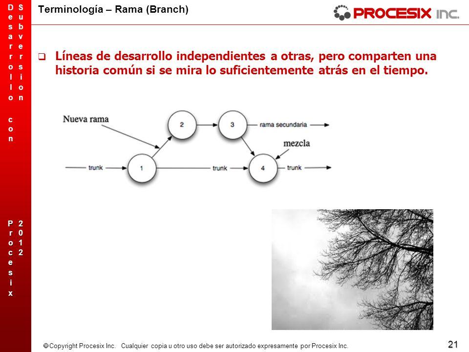 21 Copyright Procesix Inc. Cualquier copia u otro uso debe ser autorizado expresamente por Procesix Inc. Terminología – Rama (Branch) Líneas de desarr
