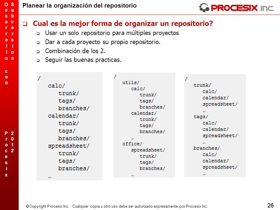 26 Copyright Procesix Inc. Cualquier copia u otro uso debe ser autorizado expresamente por Procesix Inc. Planear la organización del repositorio Cual