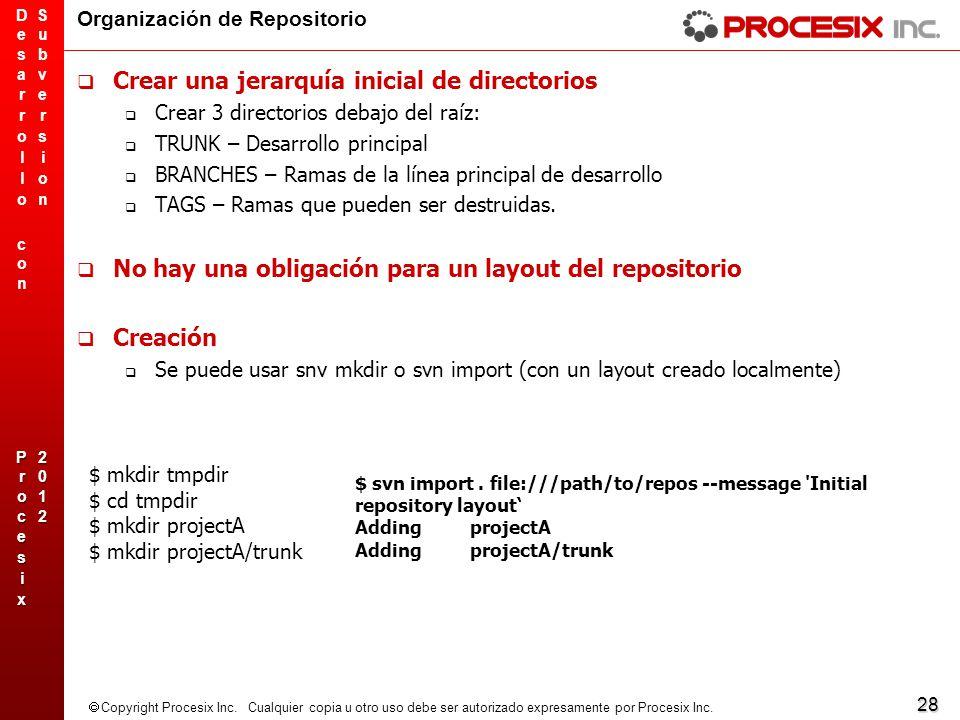 28 Copyright Procesix Inc. Cualquier copia u otro uso debe ser autorizado expresamente por Procesix Inc. Organización de Repositorio Crear una jerarqu