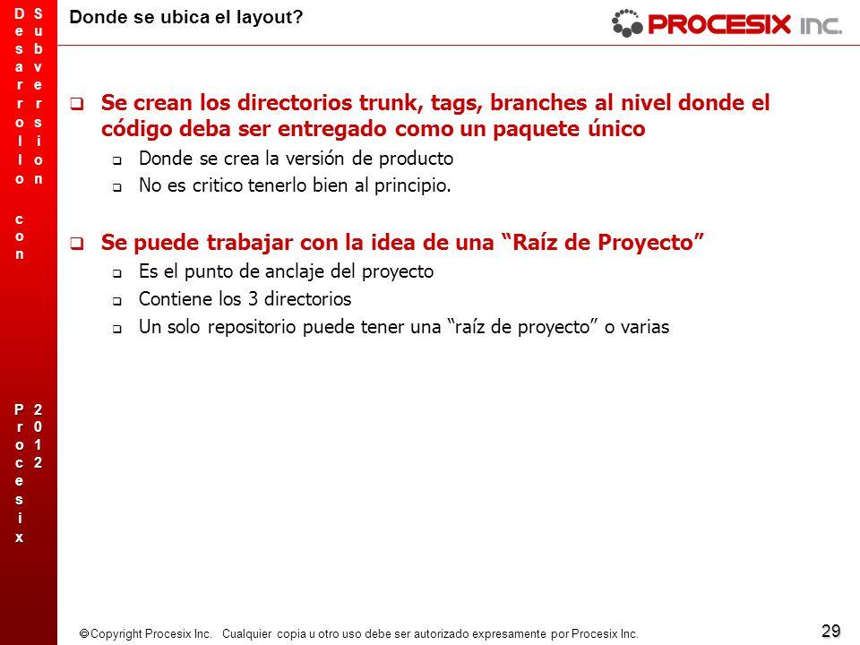 29 Copyright Procesix Inc. Cualquier copia u otro uso debe ser autorizado expresamente por Procesix Inc. Donde se ubica el layout? Se crean los direct