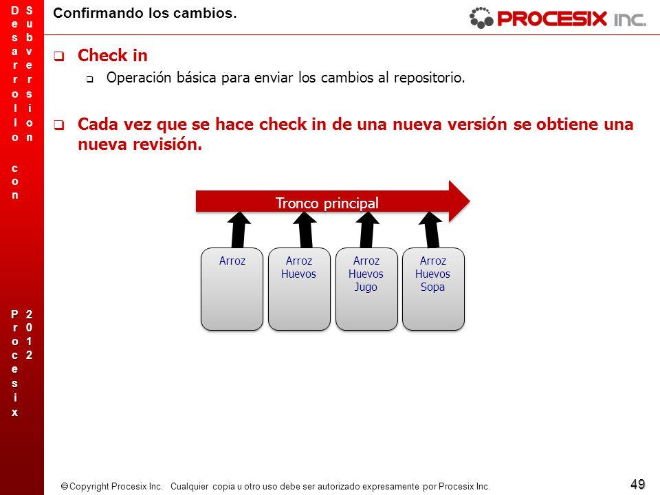49 Copyright Procesix Inc. Cualquier copia u otro uso debe ser autorizado expresamente por Procesix Inc. Confirmando los cambios. Check in Operación b