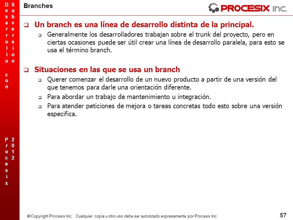 57 Copyright Procesix Inc. Cualquier copia u otro uso debe ser autorizado expresamente por Procesix Inc. Branches Un branch es una línea de desarrollo