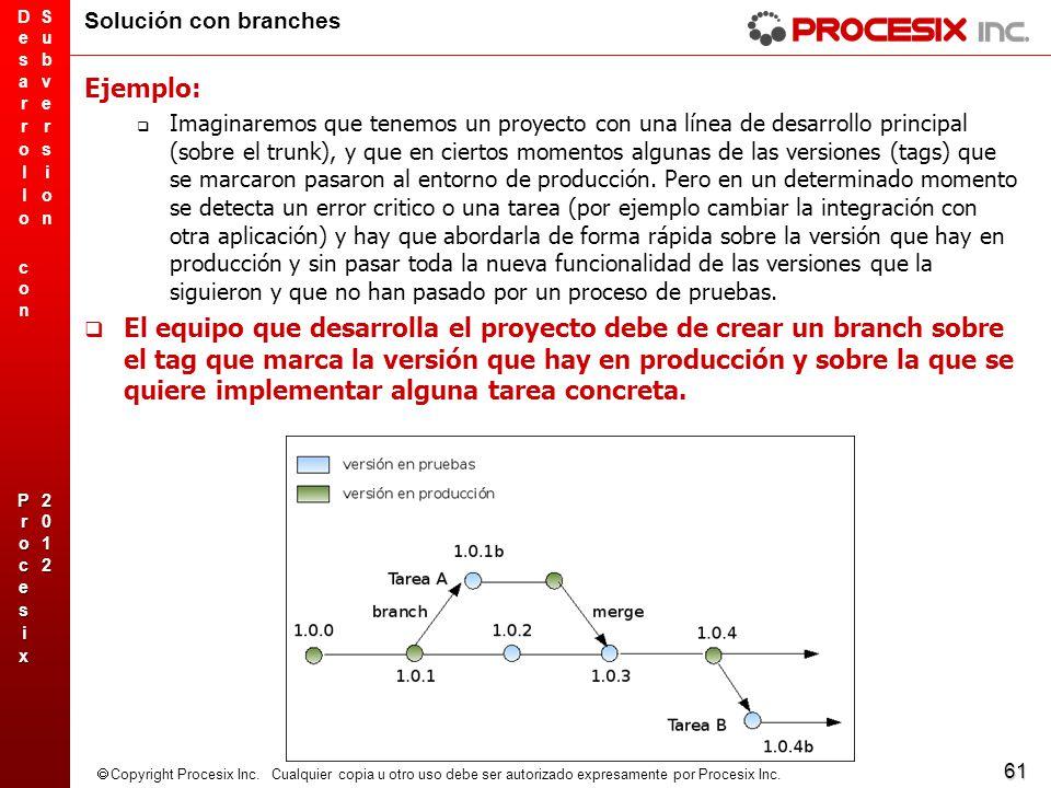 61 Copyright Procesix Inc. Cualquier copia u otro uso debe ser autorizado expresamente por Procesix Inc. Solución con branches Ejemplo: Imaginaremos q