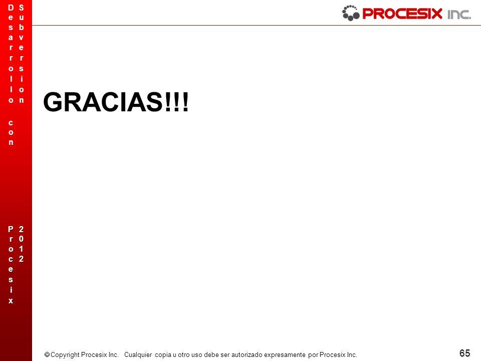 65 Copyright Procesix Inc. Cualquier copia u otro uso debe ser autorizado expresamente por Procesix Inc. GRACIAS!!!
