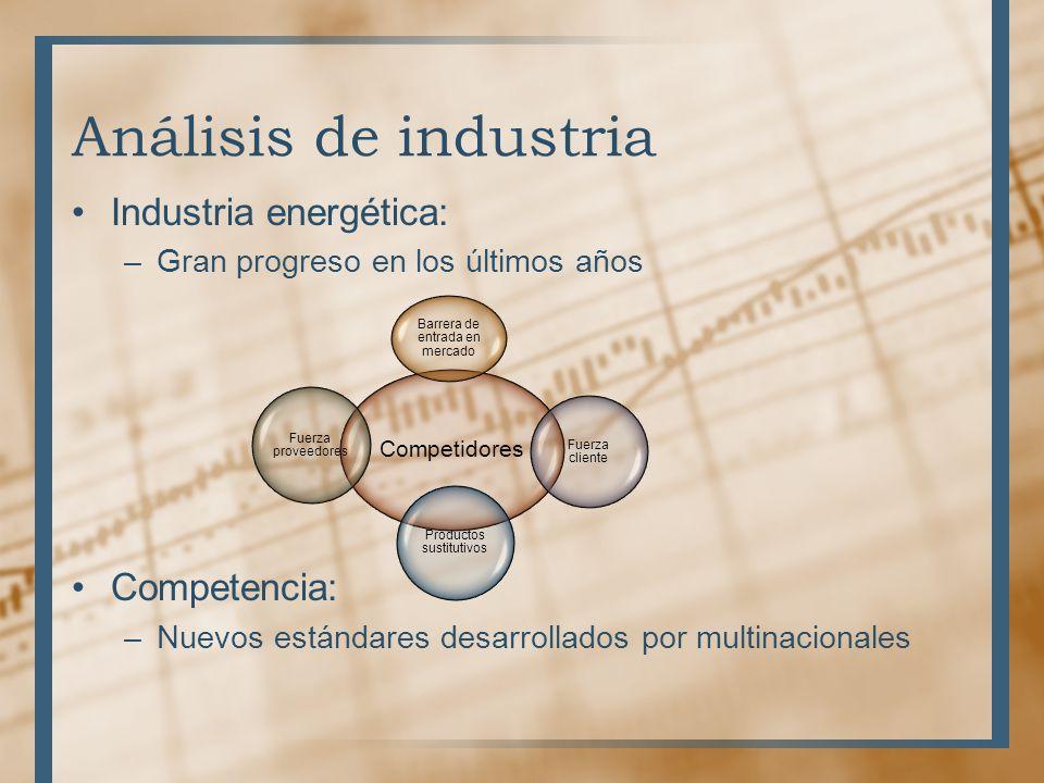 Análisis de industria Industria energética: –Gran progreso en los últimos años Competencia: –Nuevos estándares desarrollados por multinacionales Compe
